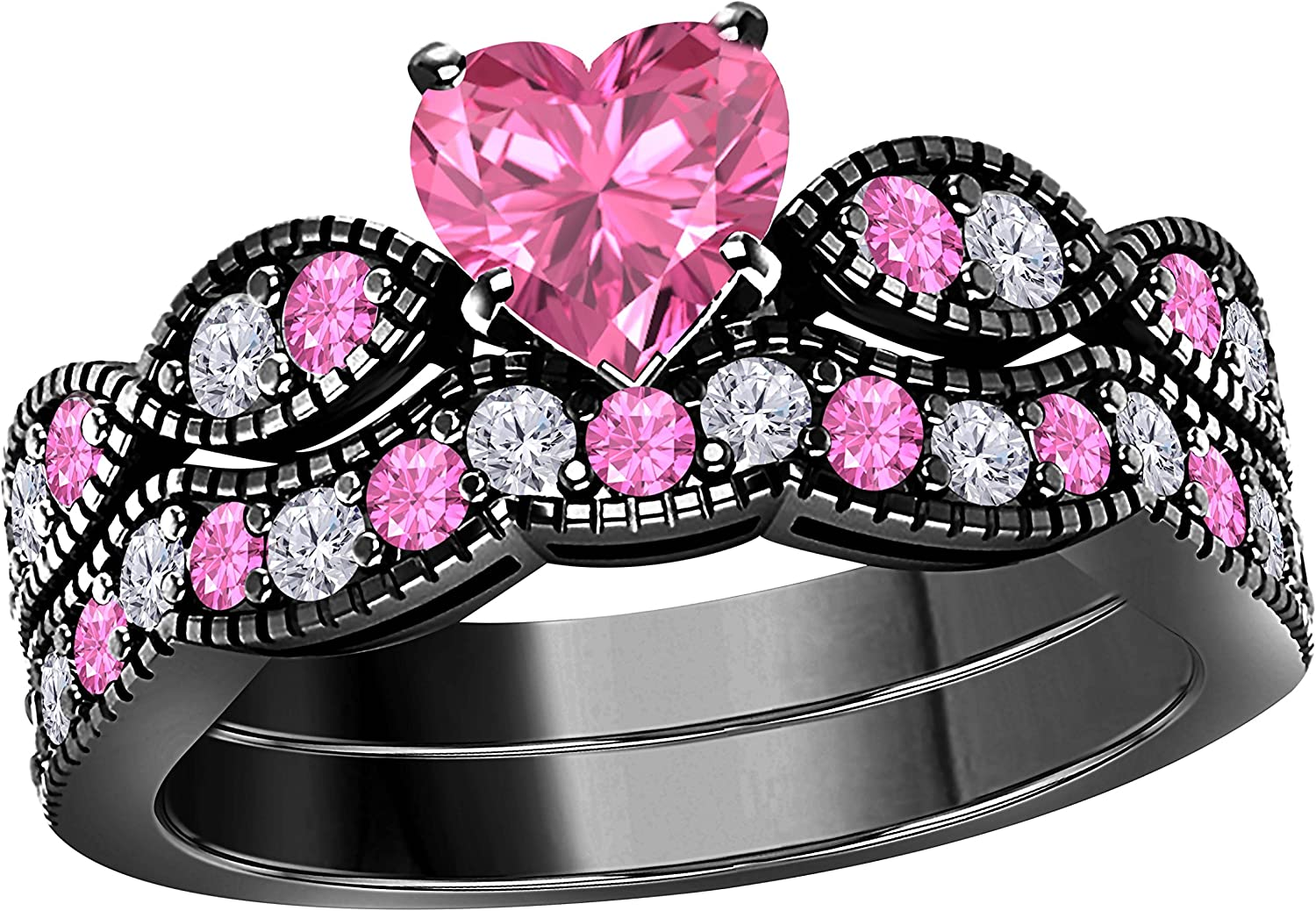 Gems Omaha Mall and Jewels 1.00 Ct Created Whit Shape Heart Pink Sapphire Kansas City Mall