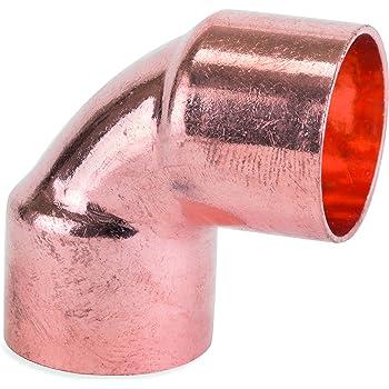 Conector de cobre para tuber/ía de fontaner/ía 90 grados, corto giro Sourcingmap
