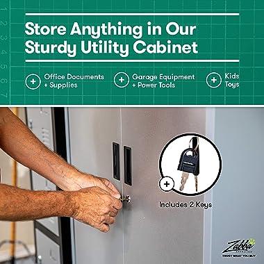 "Fedmax Metal Storage Cabinet - 71"" Tall w/Locking Doors & Adjustable Shelves - Steel Utility Cabinets for Garage, Off"