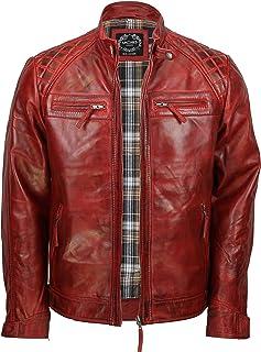 df2267240434 Xposed, giacca da uomo con cerniera, in vera pelle morbida, nera, vintage