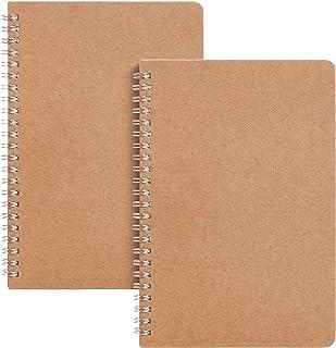 آقای قلم- نوت بوک مارپیچی ، جلد کرافت ، 2 بسته ، 40 صفحه ، نوت بوک مارپیچی خالی ، نوت بوک خالی ، دفترچه طراحی ، دفترچه مارپیچ ، دفترچه های کوچک طرح دار ، نوت بوک بدون خط ، دفترچه یادداشت سیم