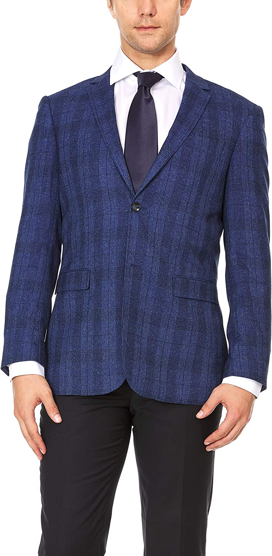 Adam Baker by Gianco Ferro Mens 83879 Slim fit Notch Lapel Plaid Sport Coat - Royal Plaid - 40L