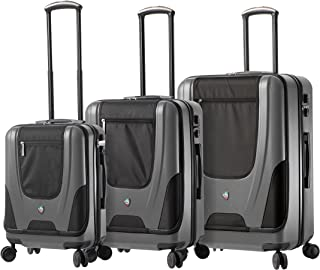 "Mia Toro Ibeido Italy Hardside Spinner Luggage 3 Piece Set (20"", 24"", 28""), Silver, One Size"