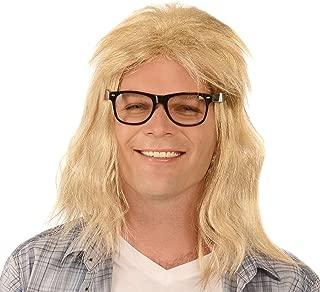 Men's Long Blonde Guitar Player Wig & Glasses