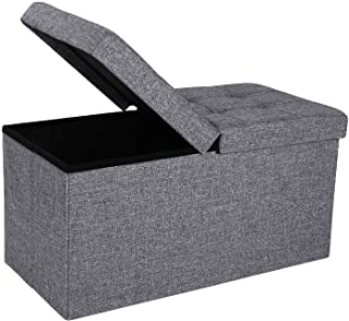 SONGMICS 30 Inches Fabric Storage Ottoman Bench with Lift Top, Storage Chest Foot Rest Stool, Dark Gray