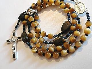 ROSARIO católico azul, amarillo, negro - piedras semipreciosas - ojo de tigre - rosario de oración devocional - accesorios...
