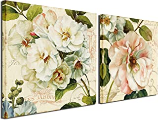 A Cup of Tea Flower Pictures Canvas Print Pink Floral Artwork Blossom Flowers Green Leaves Wall Art Paintings Decor for Living Room Bedroom Office Decoration 12x12 inch, 2 Pcs Framed Ready to Hang