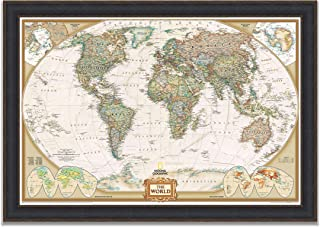 Renditions Gallery Black Leather Frame Executive National Geographic Travel Map with Push Pins, Wall Art for Living Room, Bedroom, Office, 30x44,