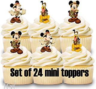 24 Cupcake Toppers Mini SAFARI MICKEY Birthday Party Cake Decorations
