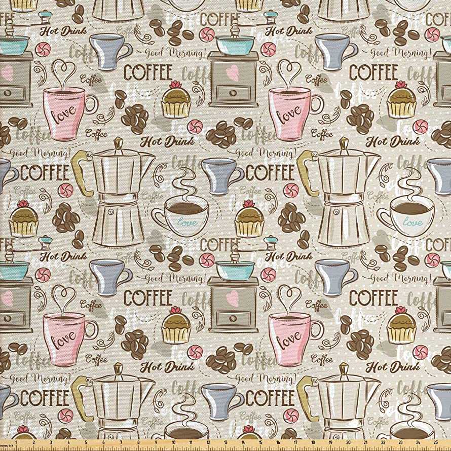Ambesonne Modern Fabric by The Yard, Coffee Time Vintage Espresso Machine Cupcakes Beans Design, Decorative Fabric for Upholstery and Home Accents, 2 Yards, Beige Pale Pink and Umber