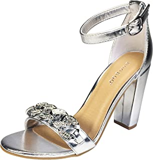 5b389e0c92f BAMBOO Women s Chain Ornament Single Band Chunky Heel Sandal with Ankle  Strap