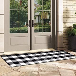 Indoor Outdoor Doormat with Latex Backing, Entryway Welcome Mats, HIPPIH Cotton Plaid Entrance Rug Shoes Scraper, Low-Prof...