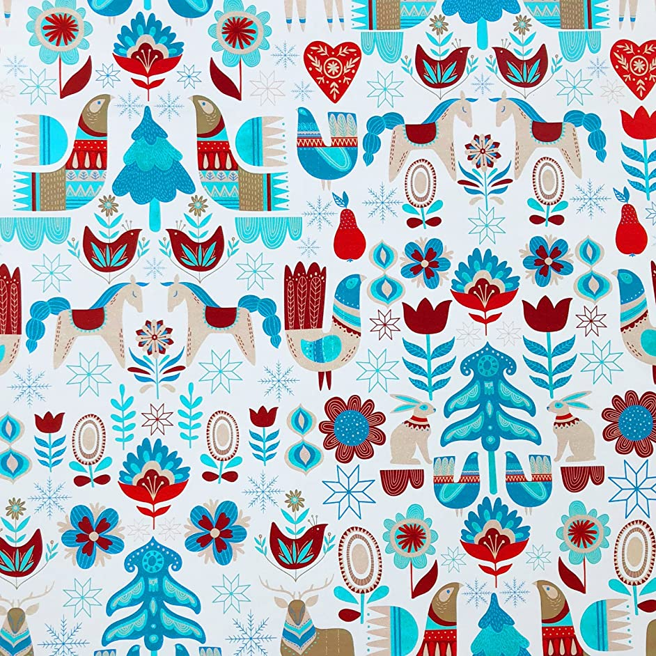 Jillson Roberts 6 Roll-Count Christmas Gift Wrap, Nordic Holiday