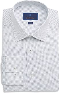 Mens Trim Fit White Small Navy Polka Dots Dress Shirt