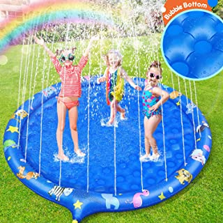 Sprinkler for Kids, Unique Non-Slip Bubble Bottom Splash Pad 70 Inch Children's Sprinkler Pool Extra Large Inflatable Baby Wading Pool Summer Outdoor Water Toy Backyard Fountain Play Mat for Learning
