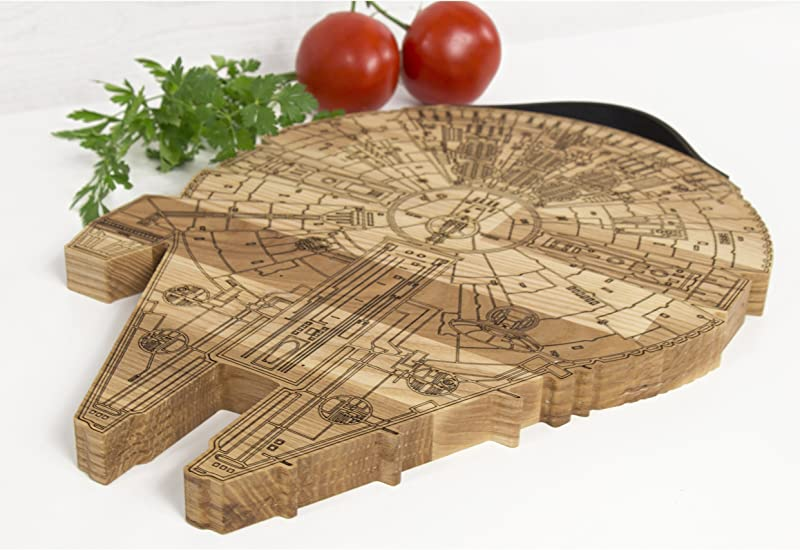 Millennium Falcon Board Wooden Cutting Board Engraved Wooden Plate Rustic Cutting Board Futuristic Serving Platter Valentines Gift