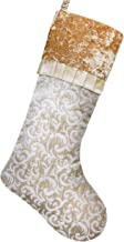 Valery Madelyn 21 inch Luxury Gold Christmas Stockings with Baroque Patterns and Ruffle Cuff Trim, Themed with Tree Skirt (Not Included)