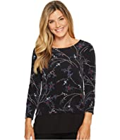 Ivanka Trump - Matt Jersey Long Sleeve Georgette Hem Shirt