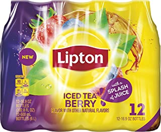 Lipton Iced Tea Berry with a Splash of Juice, 16.9 oz Bottles, 12 Count