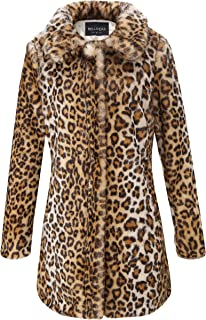 075ac97966e03 Bellivera Womens Leopard Faux Fur Cardigan Fluffy Coat Long Sleeve for  Winter