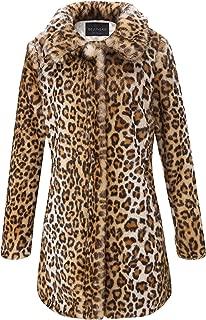 Womens Leopard Print Faux Fur Cardigan Fluffy Coat Long Sleeve for Winter