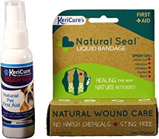 Natural Seal and Tough Seal Spray on Liquid Bandage Products for People and Pets Combo Pack, 2 Pack, One for you and one for your pet, Combine and Save, Sting Free Spray on Bandage, No Harsh Chemicals