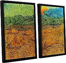 ArtWall 2 Piece Vincent Vangogh's Evening Landscape with Rising Moon Floater Framed Canvas Artwork, 24