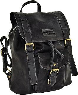 Menzo Vintage Rucksack Meran aus echten Leder - handverarbeitet, Backpack Retro Schule Damen