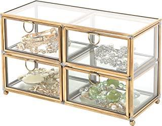 MyGift Vintage Clear Glass & Brass Metal 4 Drawer Display Box/Dresser Top Jewelry Storage Organizer