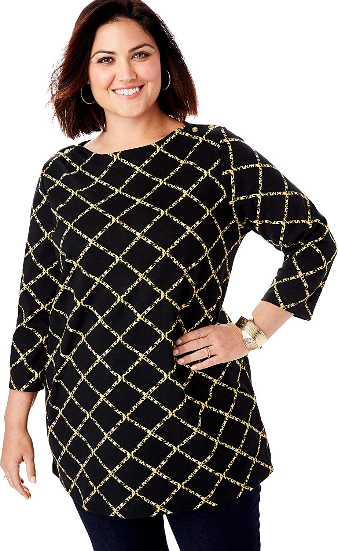 Jessica London Women's Plus Size Boatneck Tunic Long Knit 3/4 Sleeve Shirt