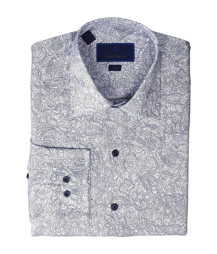 David Donahue  Trim Fit Paisley Fusion Shirt (White/Navy) Mens Clothing