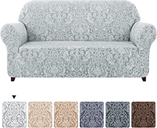 subrtex Sofa Slipcover 1-Piece Jacquard Damask Couch Cover High Stretch Furniture Protector for Armchair in Living Room for Kids, Pets(Large,Light Smoky Gray)