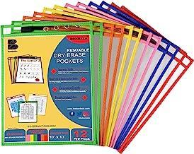 Bonbela Dry Erase Pockets 12 Pack - Dry Erase Sleeves - Reusable Sheet Protectors - School or Work - Oversized 10 x 13 Inc...