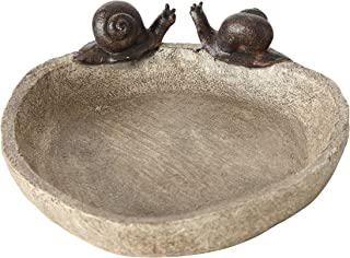 WHW Whole House Worlds Bird Bath with 2 Snails, Off White Stone Finished Basin and Brown, All Weather Poly Resin, 8 1/4 inches Diameter (21cm)