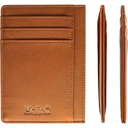 Extra Flaches und Kleines Leder Kreditkartenetui in Schwarz oder Braun Braun