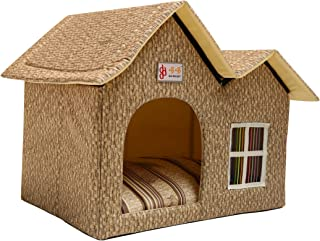 ZPPMC Luxury Double Roof Dog House Room Cat Bed Pet Crates for Dogs Portable Folding Kennel for Pets Indoor Outdoor High-end