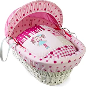 Clair Lune Dolly White Wicker Moses Basket inc  Bedding  Mattress  amp  Adjustable Hood  Pink