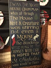 TWAS The Night Before Christmas Vintage Wood Sign Rustic Wooden Porch Sign Wood Block Plaque Wall Decor Art Farmhouse Home Gift - 8x24 inch