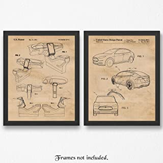 Original Tesla X & Interior Layout Patent Poster Prints, Set of 2 (11x14) Unframed Photos, Great Wall Art Decor Gifts Under 20 for Home, Office, Man Cave, Student, Teacher, Electric Cars & Coffee Fan