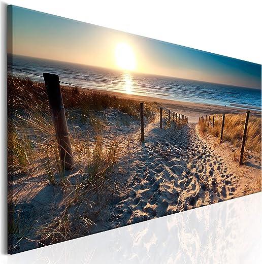 decomonkey Bilder Strand Sonnenuntergang 120×40 cm 1 Teilig Leinwandbilder Bild auf Leinwand Vlies Wandbild Kunstdruck Wanddeko Wand Wohnzimmer…