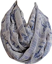 Etwoa's Airplane Themed Infinity Scarf Blue Print Scarf Circle Scarf