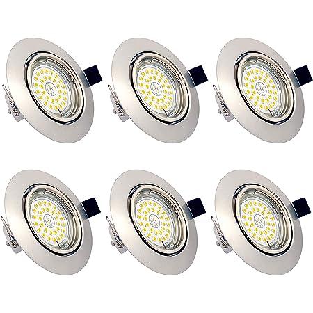 Spots LED Encastrables Orientables Dimmables, ampoules 6 x 6W incluses, GU10, Blanc Chaud 3000K, 230V, IP23, éclairage plafond LED intérieur pour Salon Cuisine Couloir