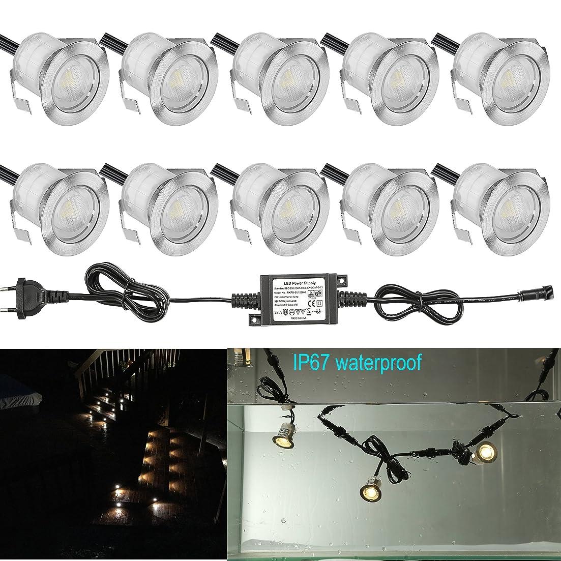 バウンス投げる刈る埋め込み式ライト FVTLED スポットライト 地中埋込型ライト 12V 0.6W IP67防水 LED 照明 高輝度 省電力 複数延長可能 ガーデン 庭 屋外用 (20個セット, ウォームホワイト)