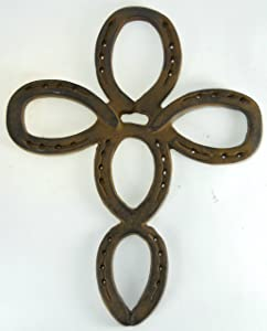 Large Castiron Horseshoe Cross Cowboy Decor