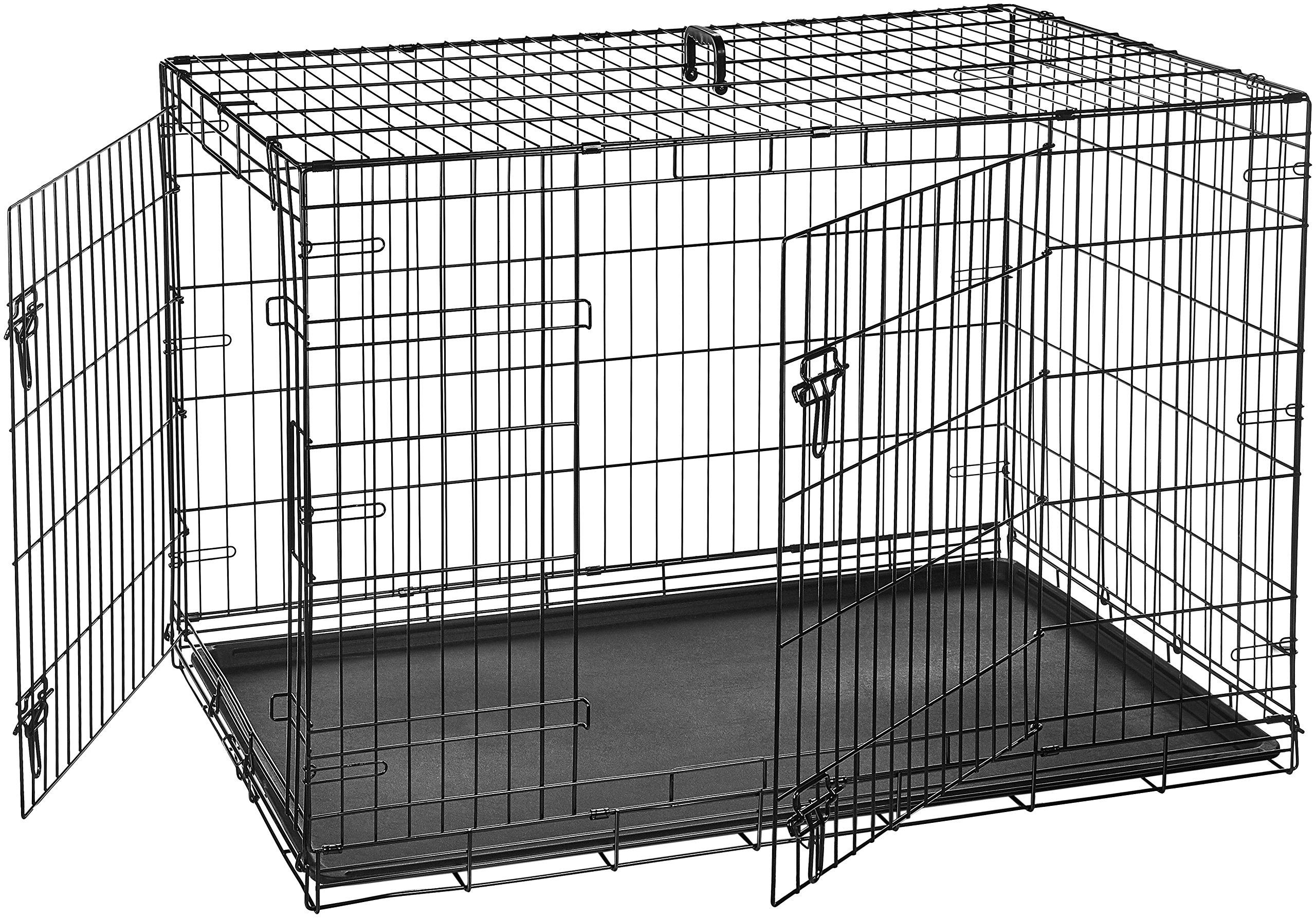 AmazonBasics Double Door Folding Metal Crate