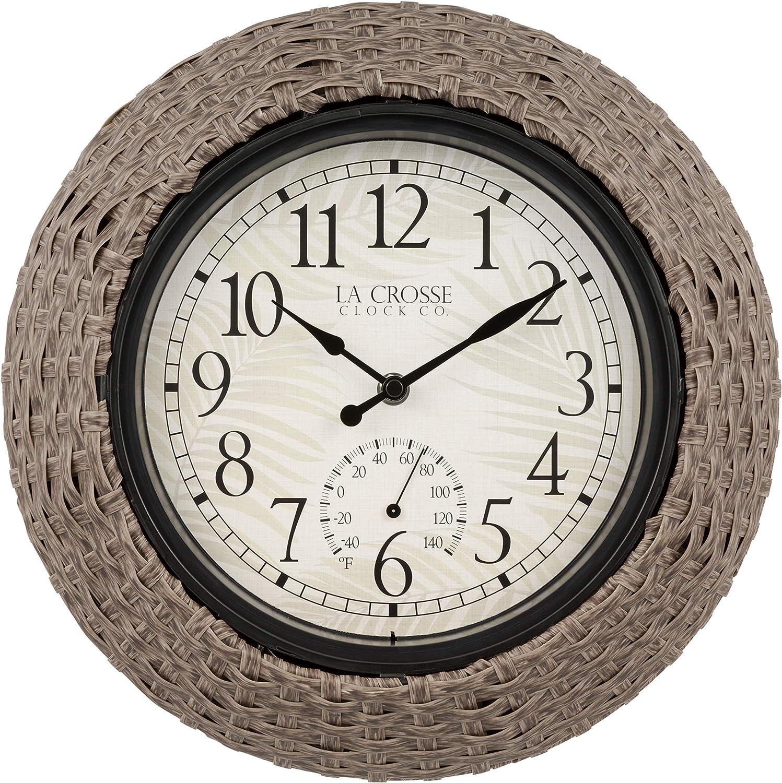 La Crosse 433-3833 13-inch Weaver Q お歳暮 売れ筋ランキング Rattan Outdoor Indoor Analog