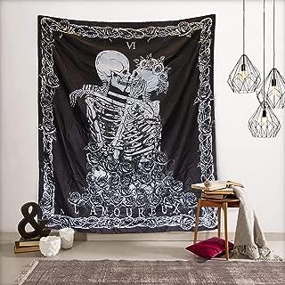 Merrycolor Skull Tapestry Wall Black Skeleton Kissing Lovers Tapestries Wall Art for Living Room Bedroom Dorm Decor (57