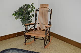 A & L Furniture 2021 Hickory 9-Slat Rocker Chair, Natural Finish