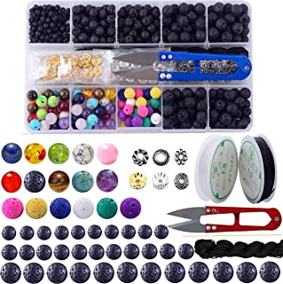 Lava Stone Box Set Kits 8mm Round Loose Chakra Rock Beads and Spacer Beads with Accessories Tools for Essential Oil Yoga Diffuser Meditation Bracelet Jewelry Making (Lava Stone Beads Kit)