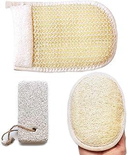 Coimoon Set of 3-Exfoliating Loofah Body Sponge, Scrubber Natural Sisal Bristles Glove, Natural Pumice Stone, Loofa, Luff...